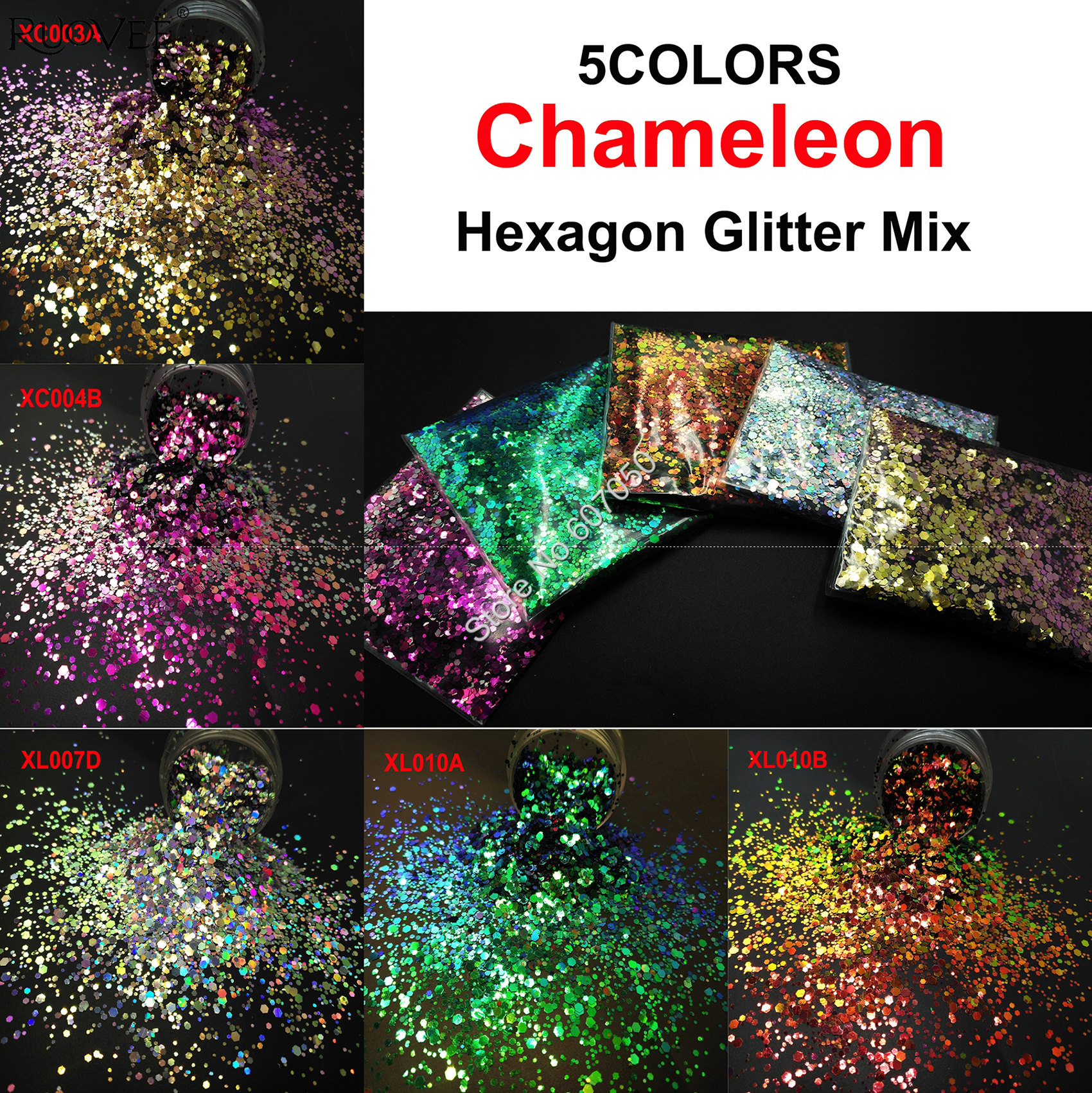 Craft-Decorations Diy-Accessories Makeup Nail-Art Chameleon Glitter Hexagon-Shape Metallic