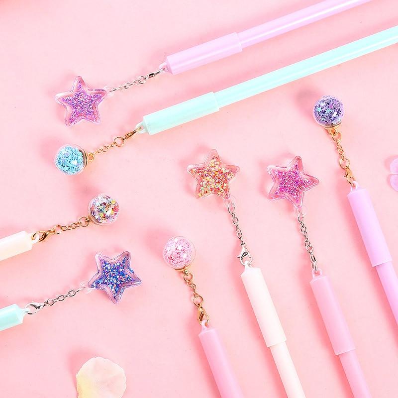 1PC Novelty Gel Pens Cute Pentagram Pendant Pens 0.38mm Kawaii Neutral Pen For Kids Girls Gift School Office Supplies Stationery
