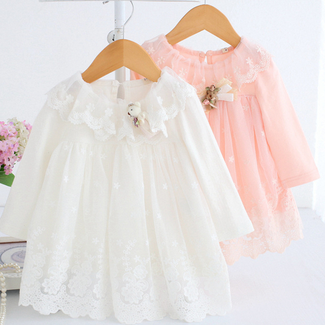Baby Dress Long Sleeve 0-2Y Newborn Baby Girl Tulle Dresses Birthday Dress Soft Cotton Frocks with Bear Doll A012 Baby Clothes