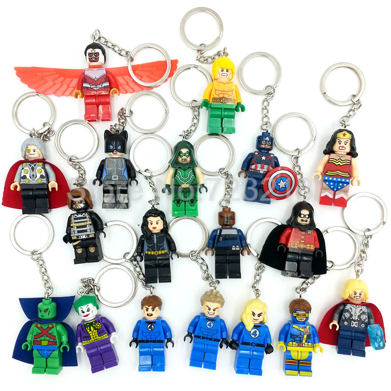 Marvel Super Hero Keychains Single Sale figure Superman Mr Fantastic Cyclops Arrow The Falcon Key Ring Blocks Toys For Childen дал р потрясающий мистер фокс fantastic mr fox