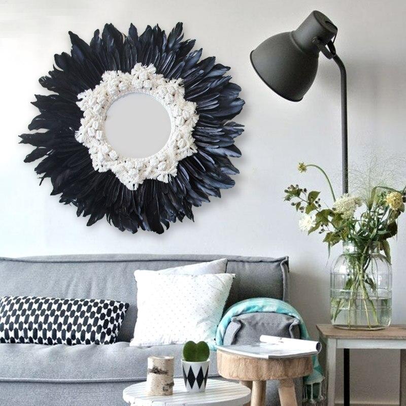 Livraison gratuite moderne à la main tapisserie plume verre miroir mur décoratif miroir Art