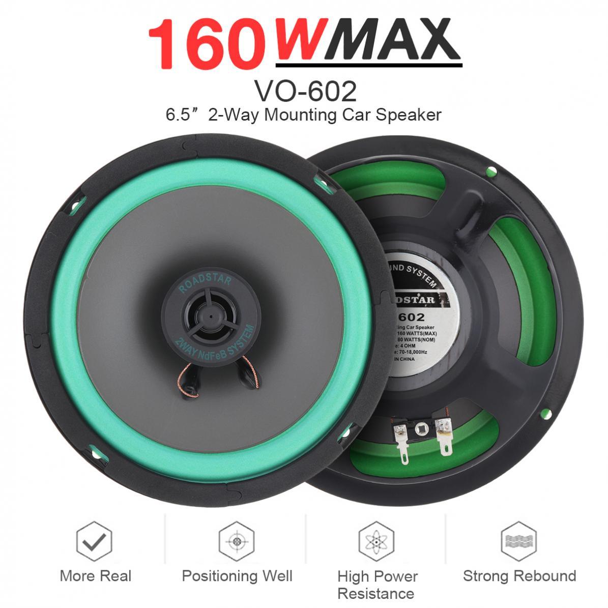 1 pçs 6.5 Polegada 160 w carro alto-falante coaxial de alta fidelidade porta do veículo auto áudio música estéreo gama completa freqüência alto-falantes