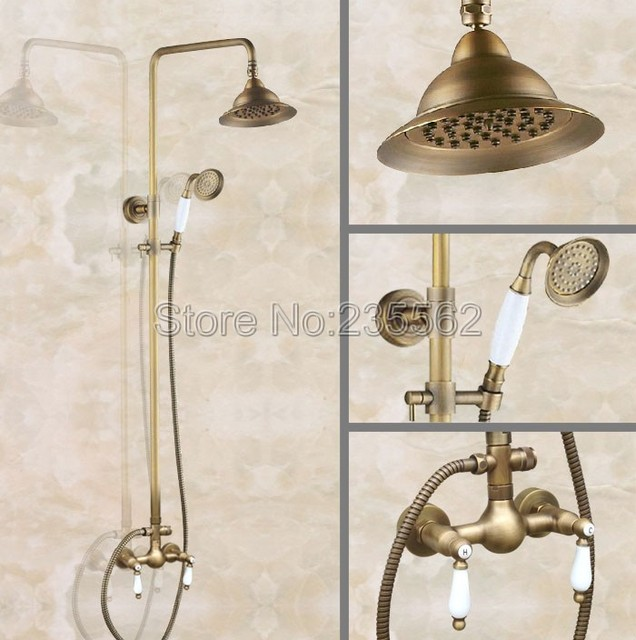 Antique Br Bathroom Wall Mount Rain Shower Faucet Set Mixer Tap Kit With Ceramic Handheld Spray