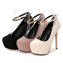New Women Pumps Shoes Flock Round Toe Beading Buckle Strap 12cm 14cm Thin High Heels Platform Solid Shallow Party Female Shoes 2016 new fashion women platform round toe sexy thin heels high shoes spring pu beading pumps party shoes black white color 929 1
