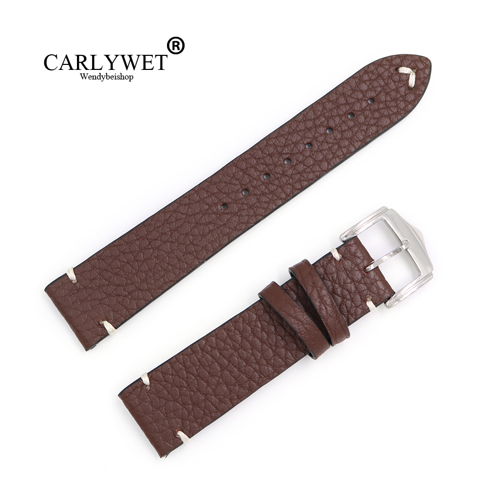 CARLYWET 20 22 24mm Wholesale Genuine Cowhide Smooth Vintage Leather Black Brown Blue Red Watch Band Strap With Polish Buckle