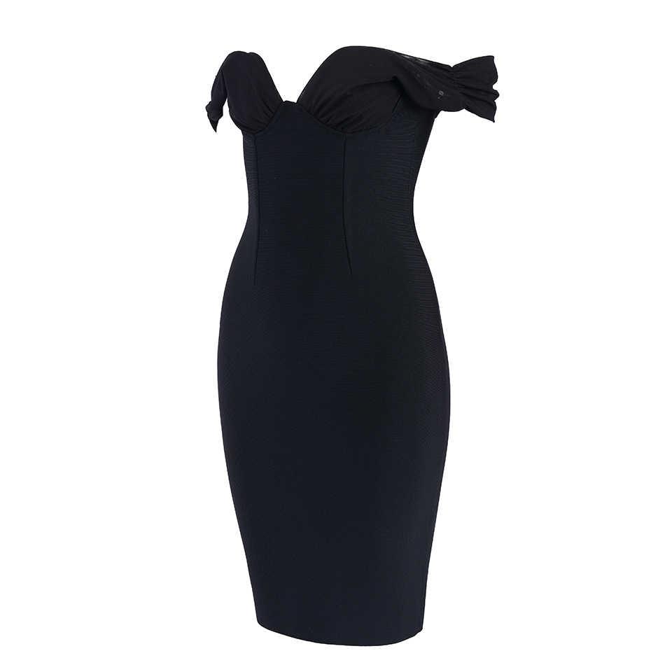Seamyla 2019 Новое Женское Бандажное платье Сексуальное Черное облегающее летнее платье с открытыми плечами Vestidos Клубные платья знаменитостей