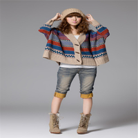 Horn Buckle Bat Sweater Korean Thick Colored Stripes Loose Big Yards Female Cardigan Sweater Cape Coat