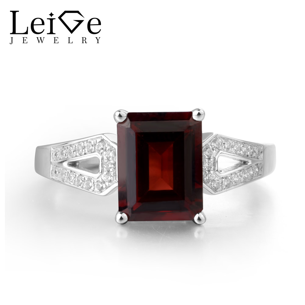 Leige Jewelry Genuine Red Garnet 925 Sterling Silver January Birthstone Emerald Cut Anniversary Rings For Woman цена
