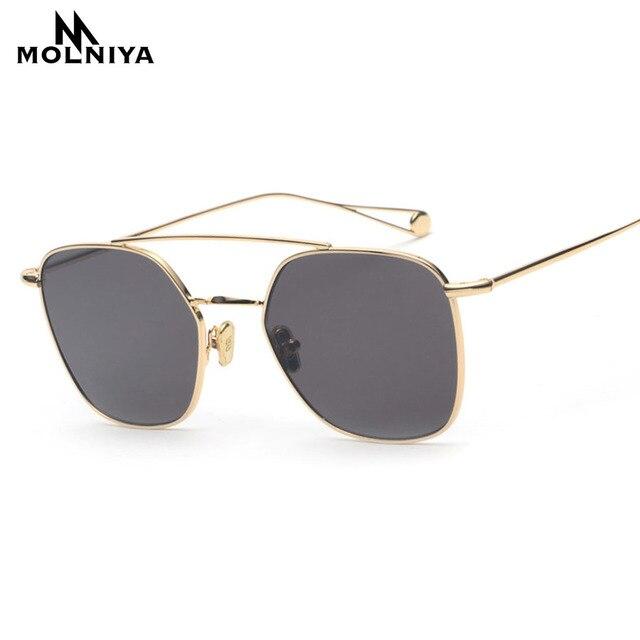 MOLNIYA New Double Beam Frame Square Sunglasses Men Yellow Red Lens ...