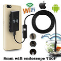 Wi-fi для iOS Android 2.0MP Эндоскоп 8 мм 1 М 6LED Водонепроницаемый Инспекции Камеры