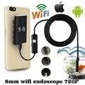 Wifi para iOS Android 2.0MP 8mm 1 M 6LED Endoscópio Inspeção Câmera À Prova D' Água