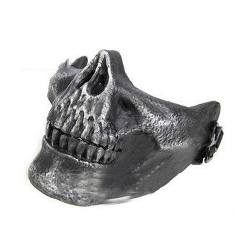 Skull Skeleton Airsoft Berburu Biker Ski Setengah Wajah Melindungi Aksesoris Masker untuk Halloween Cosplay Alat Peraga Kostum ...