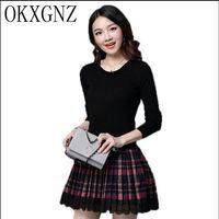 OKXGNZ Women Dress 2017 New Fashion Knitted Sweater Stitching Dress Long Sleeve Lace edge Temperament Dresses Slim plus size H90