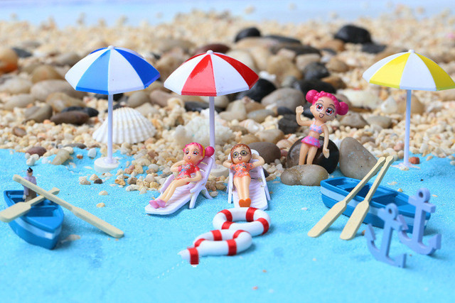 c06d1b43a09df 16pcs lot Garden Miniature Ocean Style World Landscape Sea Beach Sand  Sunshine Bikini Lounge Boat