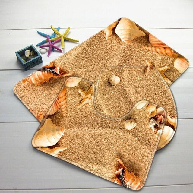 Bagno Mat Set 3 Pezzo Beach Sea Shell Modello Tappetino Wc Antiscivolo Tappeto Bagno Set Prodotti Da Bagno