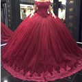 2017 Burgundy Ball Gown Wedding Dresses Short Lace Straps Off Shoulder Princess Wedding Dress Plus Size vestidos de novia