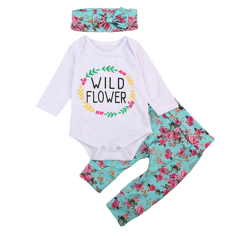 Godier Newborn Infant Baby Boy Girl Clothes Cute Floral Cotton Romper + Pant + Headband 3pcs Bebe Outfit Kid Clothing Set 0-24M