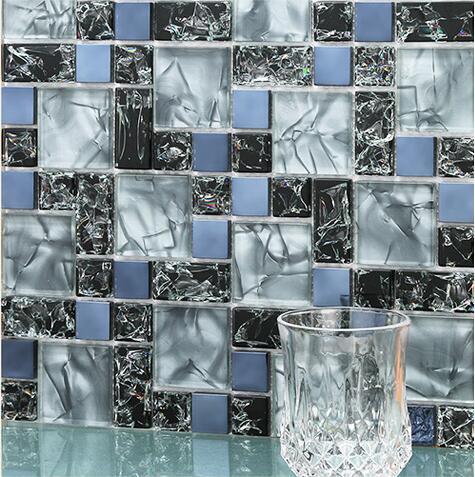 11PCS glass mosaic tile electrooptical crystal tv background kitchen  backsplash bathroom shower decorative wall tiles wholesale