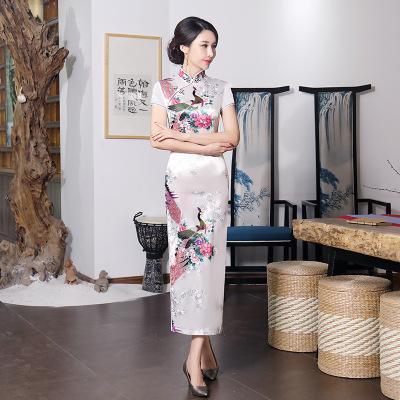 Plus Size Floral Chinese Lady Cheongsam 3XL 4XL 5XL 6XL Qipao BLACK Print Flower Sexy Long Dress Bride Wedding Gown Vestidos