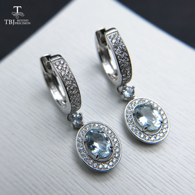 TBJ 2019 new classic clasp earring with natural brazil aquamarine gemstone jewelry in 925 sterling silver