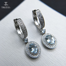 TBJ,2019 new classic clasp earring with natural brazil aquamarine gemstone jewelry in 925 sterling silver for anniversary gift