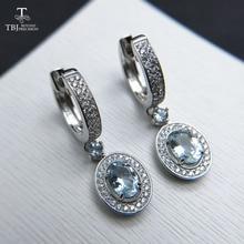 TBJ, 2019 yeni klasik toka küpe doğal brezilya aquamarine taş takı için 925 ayar gümüş yıldönümü hediyesi