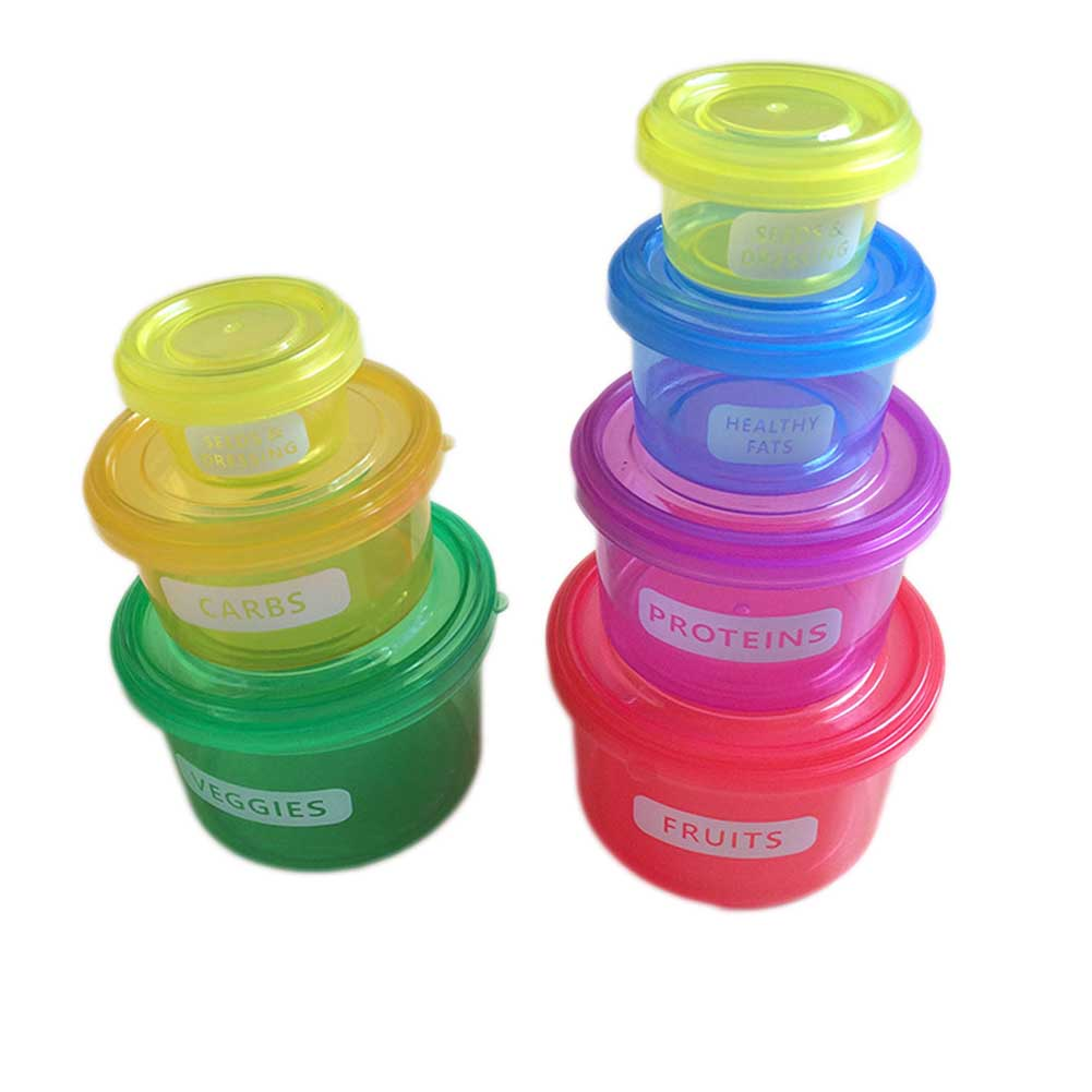 7pcs/set Perfect Portions Cute Lunch Box Tableware Control Containers Food Storage-Easy Way To Lose Weight Using image