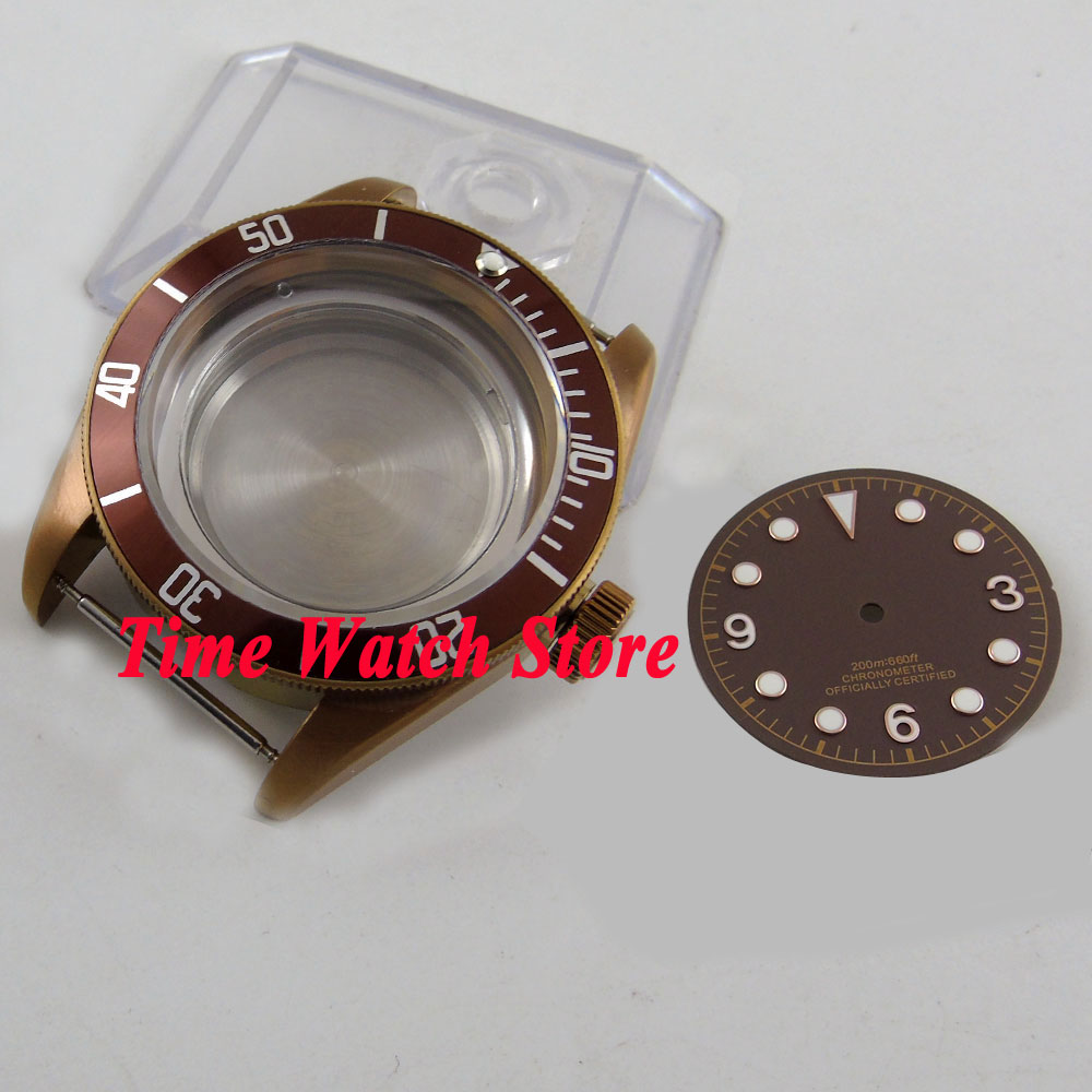 41mm sapphire glass 20ATM coffee PVD watch case fit ETA