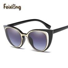 FEIXIONG Women Sunglasses Polarized Retro Cat Eyes Metal Driving black frames Sun Glasses Brand Designer oculos de sol feminino