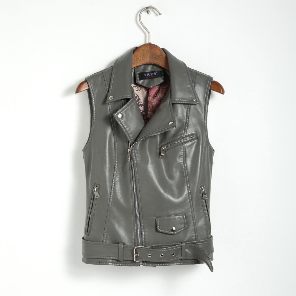 f44420063ef21c 2018 Plus Size Women Coat Leather Vest Womens Tank Top Fashion Real Photos  Sashes Rivets Cool Slim Vest Coats Casual Veste Femme-in Vests   Waistcoats  from ...