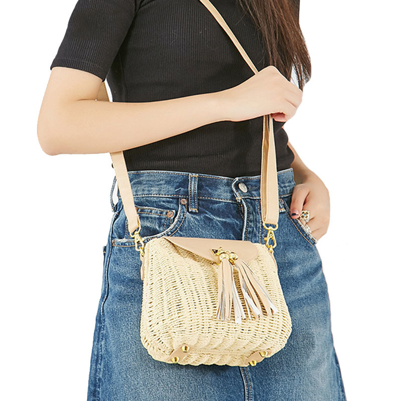 New Women Tassel Straw Bags Bohemian Female Vintage Rattan Knitted Handbag Summer Beach Lady Casual Weave Shoulder Bag SS3161 (12)