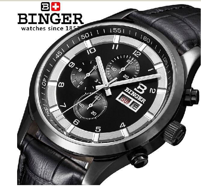 a4a80cbffd0 ≧Relógio dos homens de luxo da marca suíça BINGER Quartz completa ...