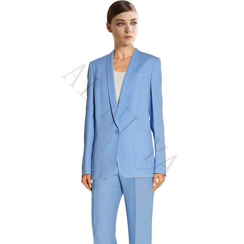 Jacket Pants Womens Business Suits Light Blue Female