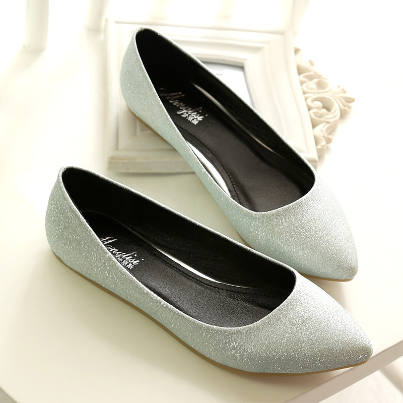 ФОТО Pointed Toe Flats Womens Shiny Summer Women's Shoes Large Size 41-45  Small 33 Flat Shoes Ladies Shoes