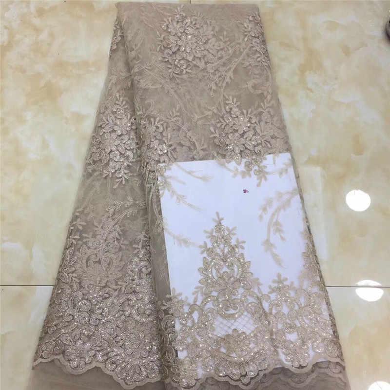 נצנצים בסגנון אפריקאי באיכות גבוהה נטו חתונה תחרה בד 2019 חדש ניגריה פאייטים תחרת טול תפירת שמלת ערב חומר