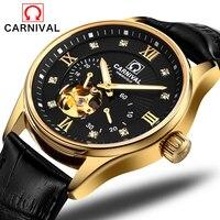Часы Carnival для мужчин полые деловые часы светящиеся золотые автоматические часы для мужчин s водостойкие кожаные часы horloges mannen saat