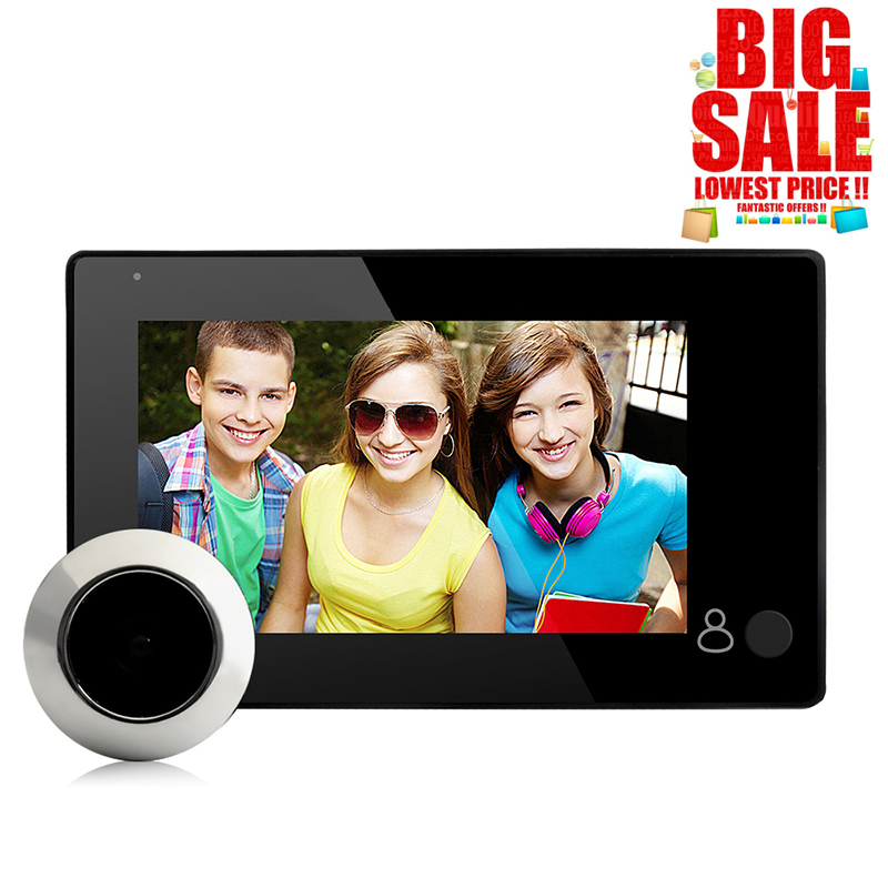 News Digital Door Camera HD 4.3inch 145 Degree LCD Viewer Peephole IR Eye Camera Video Security Monitoring Outdoor Door Bell|Video Intercom| |  - title=