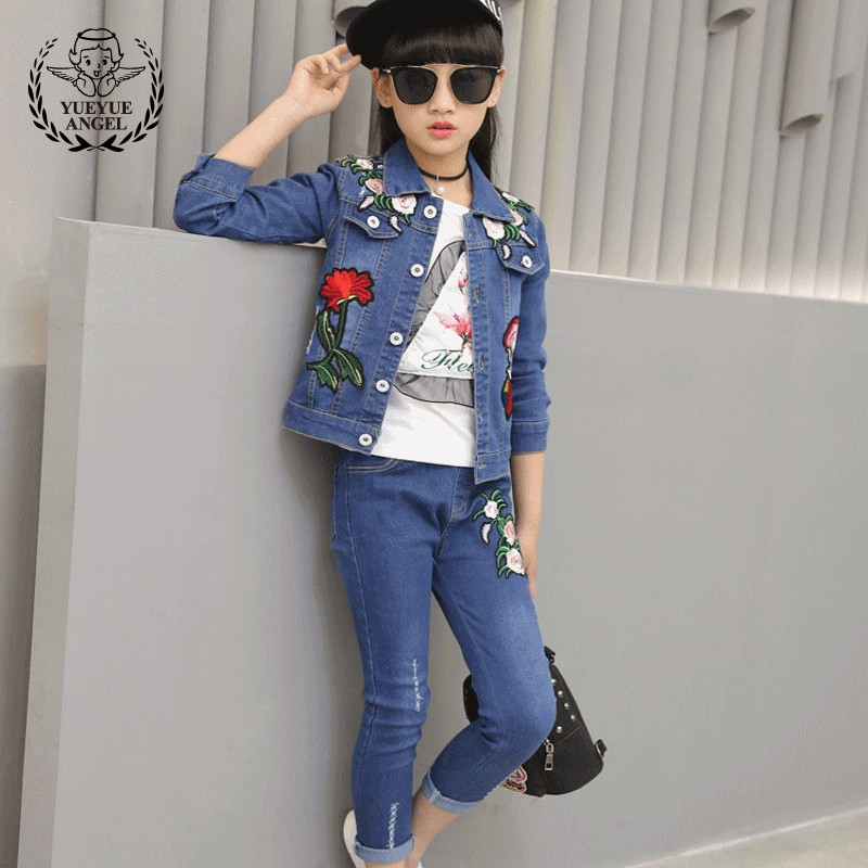 2018 New Fashion Spring Autumn Hot Flower Embroidery Single Breasted Denim Jacket+Hole Ripped Full Length Jeans 2Pcs Girl Suits 2017 new summer style men ripped hole short jeans male denim shorts adult knee length pants slim outwear clothing plus size