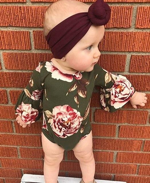 Oklady 2019 Newborn Baby Girl Clothes Floral Summer Flare Sleeve Fashion Bodysuit Romper +Headband 2pcs Set