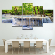 Forest waterfall landscape 5 Piece Canvas Wallpapers modern Modular Poster art Canvas painting for Living Room Home Decor forest waterfall landscape 5 piece canvas wallpapers modern modular poster art canvas painting for living room home decor