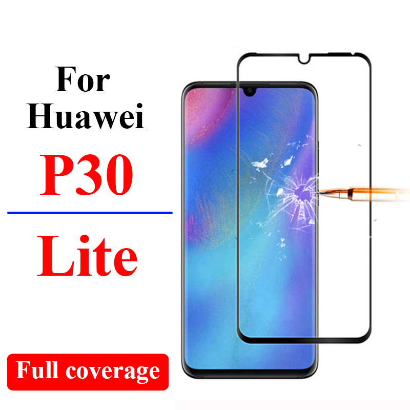 Full cover Protective glass for <font><b>huawei</b></font> <font><b>p30</b></font> lite tempered glas <font><b>screen</b></font> <font><b>protector</b></font> protect film on huaway huawie p 30 30lite protect image