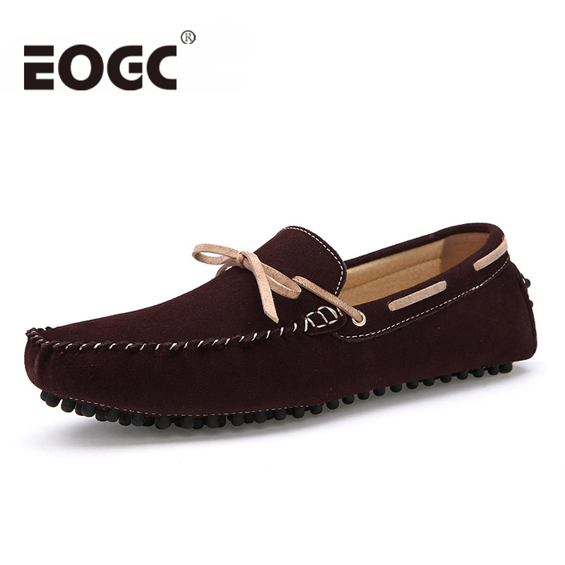 Plus size 39-46 New style Genuine   Leather     Suede   men flats shoes Brand Moccasins men loafers Peas Shoes Fashion Casual shoes