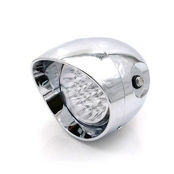 LED Chrome Bullet Headlight Lamp Front Light Cafe Racer Cruiser Choppers Custom