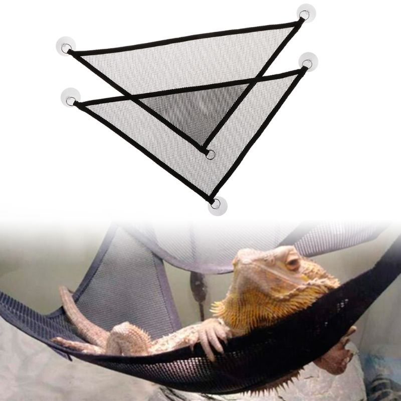 2 Pcs/Set Pet Hammock Mesh Sleeping Bed Play Toys Swing Oxford Fabric For Reptile Snake Lizard Climb Products With Suction Cup