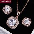 ZHOUYANG одежда высшего качества ZYS008 розовое золото цвет элегантный свадебное украшенное ожерелье серьги комплект Сделано с австрийскими кристаллами - фото
