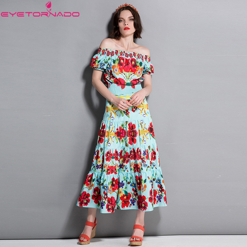 Sexy slash neck floral print crop top + long elastic waist loose skirt suit women casual beach boho vocation two pieces set sweatyrocks ringer crop cami top with drawstring shorts burgundy patchwork scoop neck sleeveless sexy women two pieces set