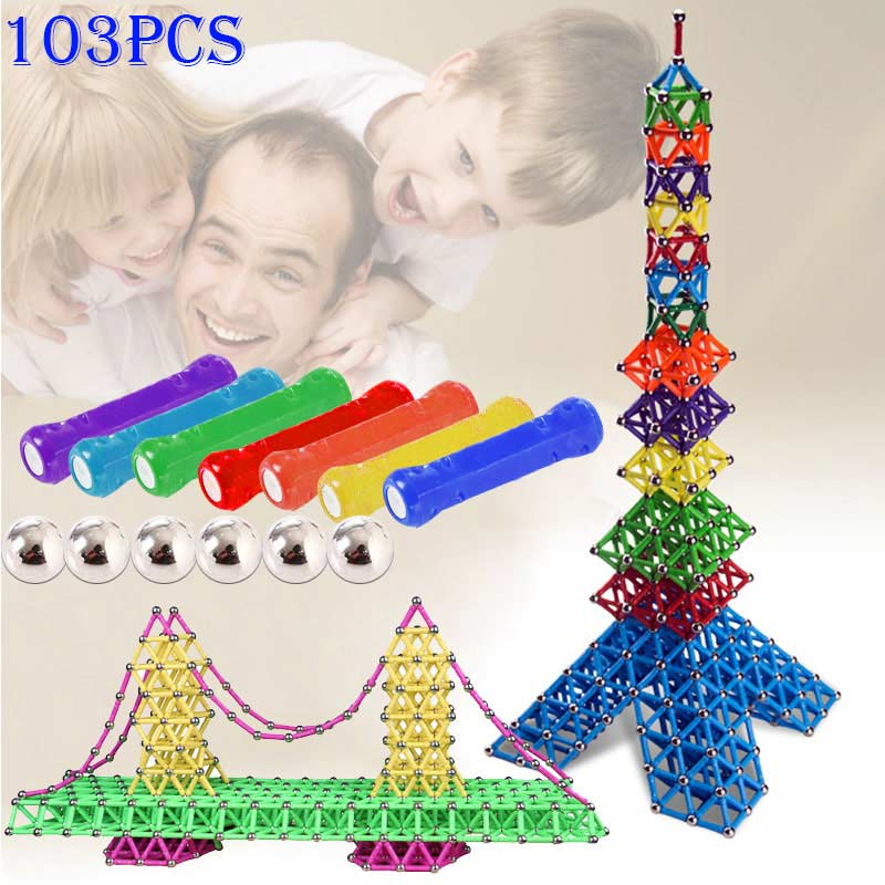103pcs Magnetic Toys Sticks Building Blocks Set Kids Educational Toys For Children Magnets Christmas Gift 17