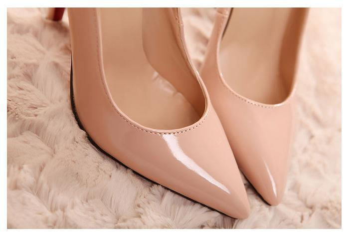 88cb42039e Elegant sexy ankle strap bright patent leather pointed toe thin heel nude  pumps classics women party shoes size 35 to 40-in Women's Pumps from Shoes  on ...
