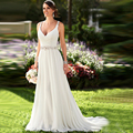 Jeanne Love Sexy White V Neck Luxury Vestido De Noiva Backless Robe De Mariage Bridal Gown Beach Wedding Dresses 2016 TG29912