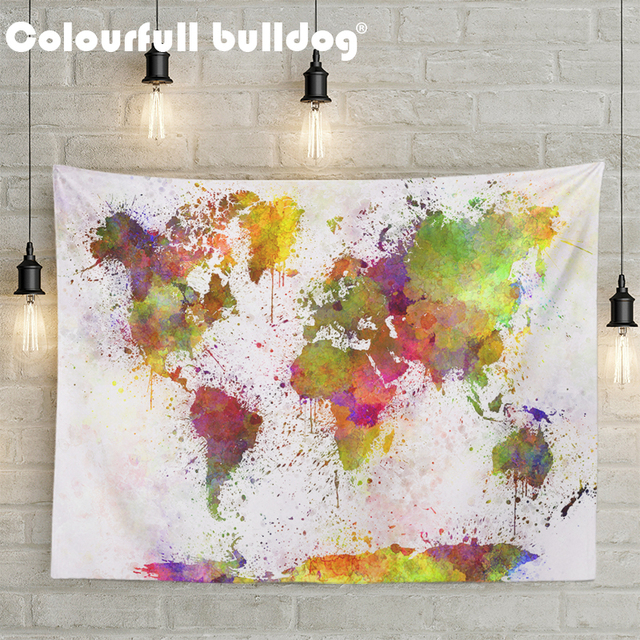 World Map Tapestries Europe Asia Wall Hanging Russia United States